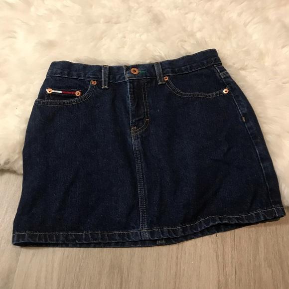 Tommy Hilfiger Dresses & Skirts - Tommy Jeans Dark Wash Big Logo Mini Skirt Size 3